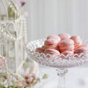 Vintage Tea Party glass bowl of pink macaroons