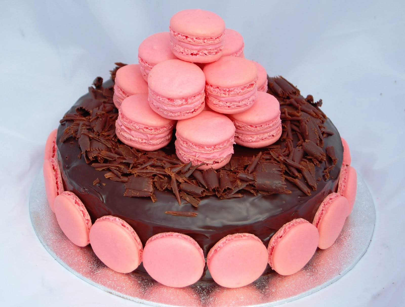 Rich Chocolate And Pink Macaron Cake