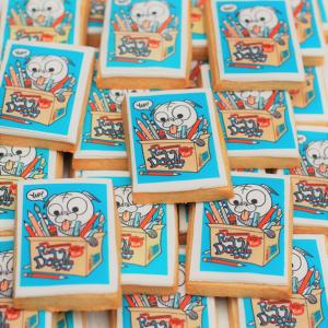 Celebration iced pug design biscuits