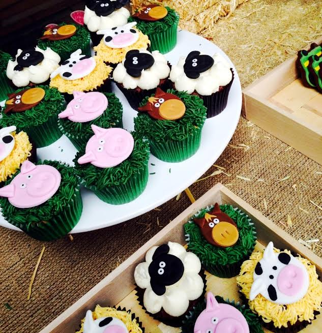 Colourful farm iced cupcakes
