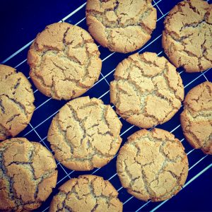 spiced ginger Cornish fairings on cooling rack